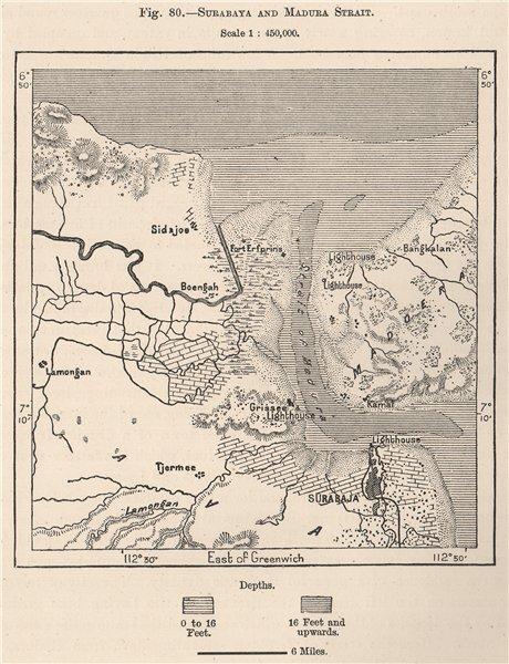 Associate Product Surabaya and Madura Strait. Java, Indonesia. East Indies 1885 old antique map