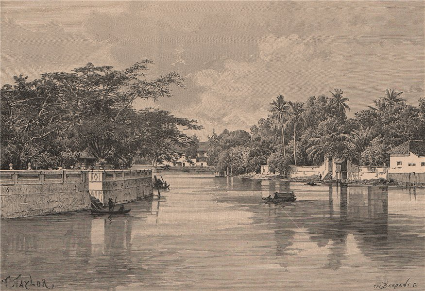 Associate Product View from the Genting bridge, Surabaya. Indonesia. East Indies 1885 old print