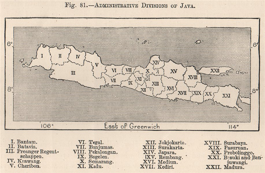 Associate Product Administrative divisions of Java. Indonesia. East Indies 1885 old antique map