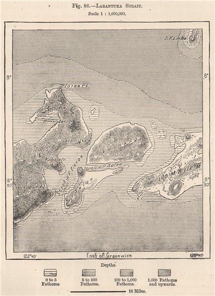 Associate Product Larantuka Strait. Indonesia. East Indies 1885 old antique map plan chart