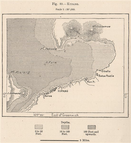 Associate Product Kupang, Timor, Indonesia. East Indies 1885 old antique vintage map plan chart