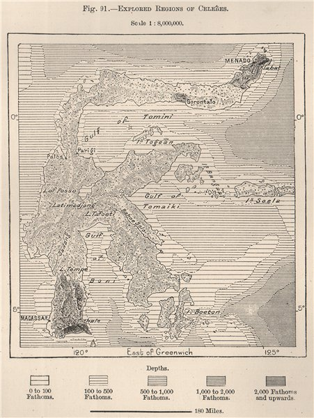 Explored regions of Celebes (Sulawesi) . Indonesia. East Indies 1885 old map