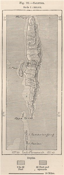 Associate Product Saleyer/Selayar Islands, Sulawesi, Indonesia. East Indies 1885 old antique map