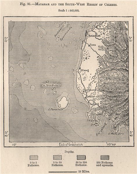 Associate Product Macassar South-West reg. Celebes (Sulawesi) . Indonesia. E Indies 1885 old map