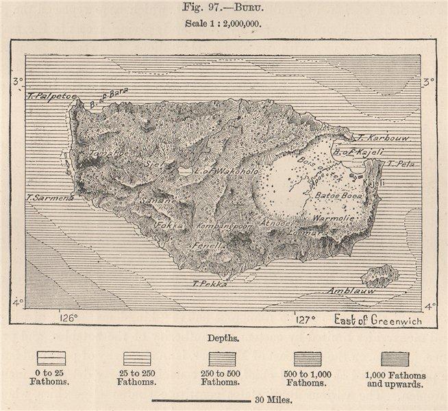 Associate Product Pulau Buru, Maluku, Indonesia. East Indies 1885 old antique map plan chart
