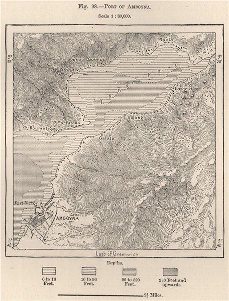 Associate Product Port of Amboyna (Ambon) Maluku, Indonesia. East Indies 1885 old antique map
