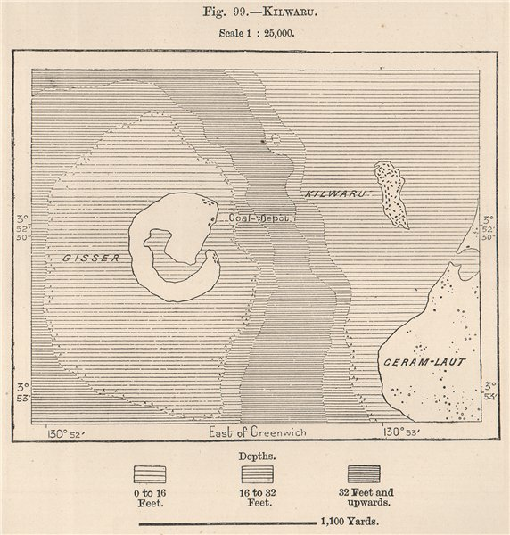 Associate Product Palau Kilwaru, Selat, Indonesia. Geser. Ceram Laut. East Indies 1885 old map