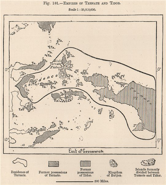 Associate Product Ternate and Tidore sultanates/empires. Indonesia. East Indies 1885 old map