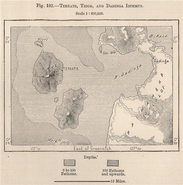 Associate Product Ternate, Tidore & Dadinga Isthmus, Maluku, Indonesia. East Indies 1885 old map