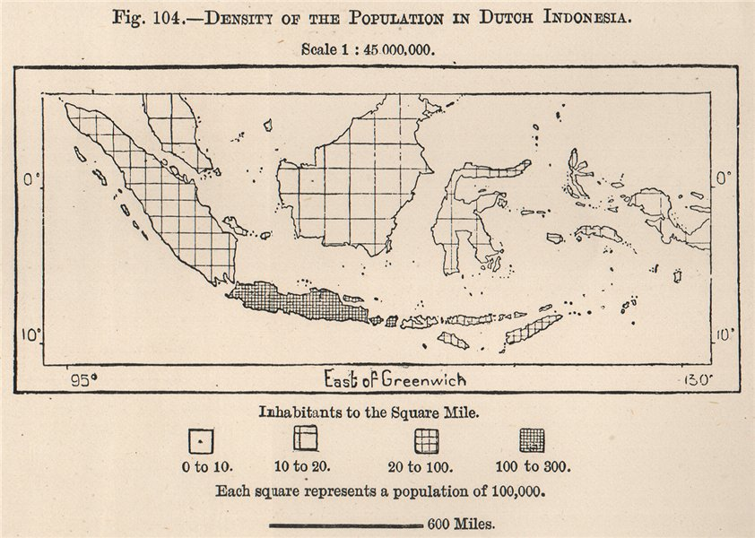 Associate Product Density of the population in Dutch Indonesia. East Indies 1885 old antique map