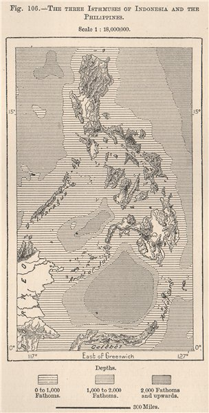 Associate Product The Three Isthmuses of Indonesia and the Philippines 1885 old antique map
