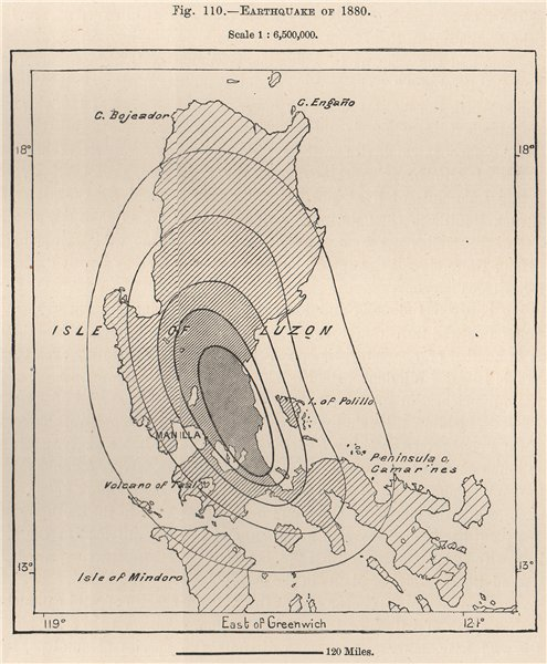 Associate Product Earthquake of 1880. Philippines 1885 old antique vintage map plan chart