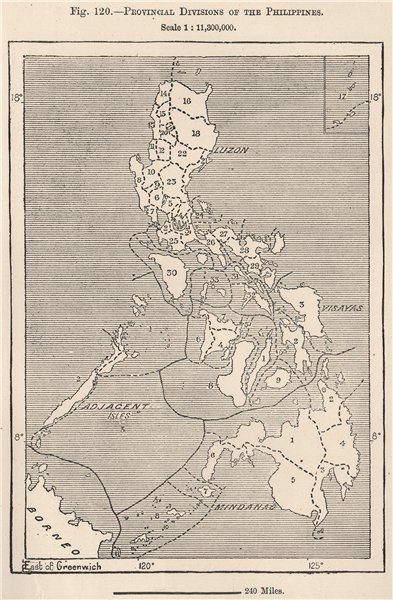 Associate Product Provincial divisions of the Philippines 1885 old antique map plan chart
