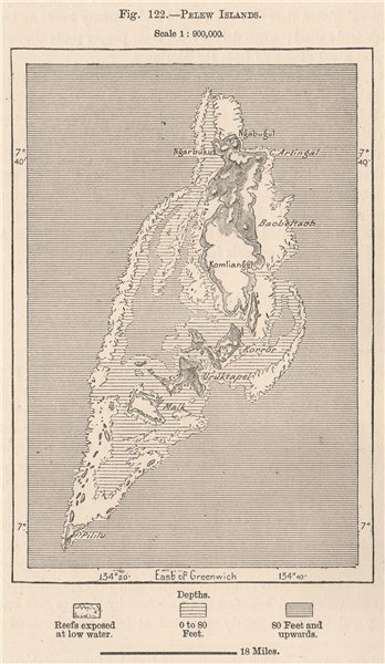 Associate Product Palau Islands. Pacific Ocean. Micronesia 1885 old antique map plan chart
