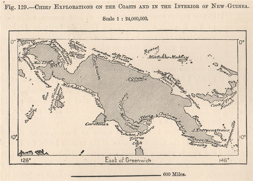 Associate Product Exploration of the coast & interior of New Guinea. Papuasia 1885 old map