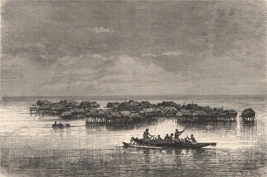 Associate Product Lacustrine village of Tupuselei, Motu Territory, New Guinea. Papuasia 1885