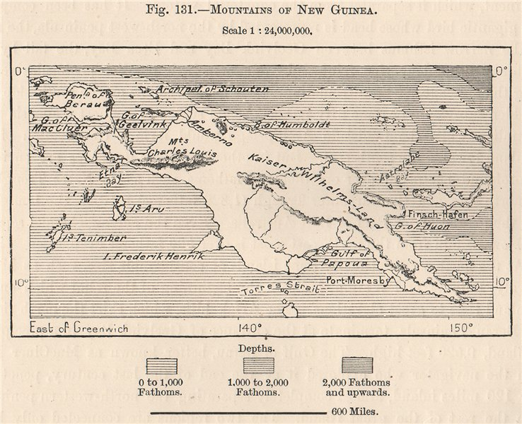 Associate Product Mountains of New Guinea. Papua New Guinea. Papuasia 1885 old antique map chart