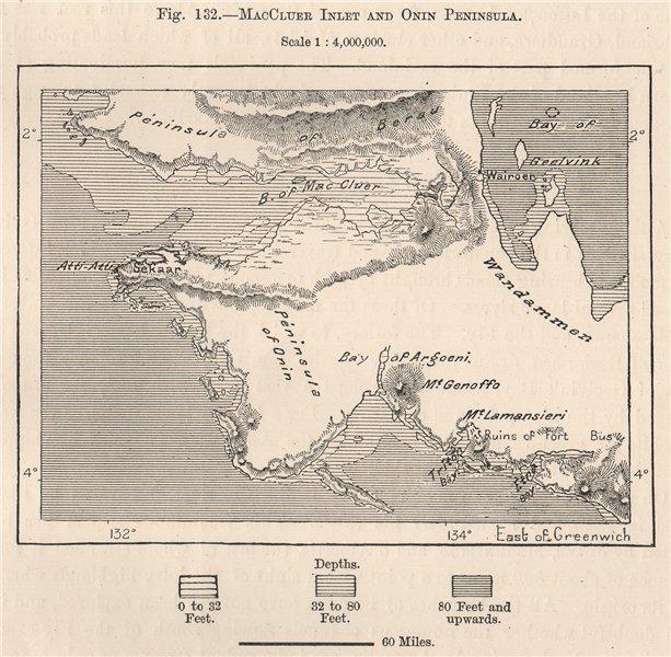 Associate Product MacCluer Inlet & Onin Peninsula, West Papua. Indonesia. New Guinea 1885 map