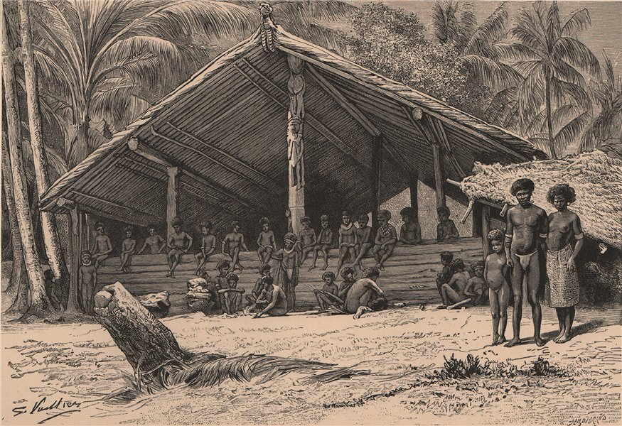 Associate Product Tambu & group of Santa Ana (Owaraha) Natives, Solomon Islands. Melanesia 1885