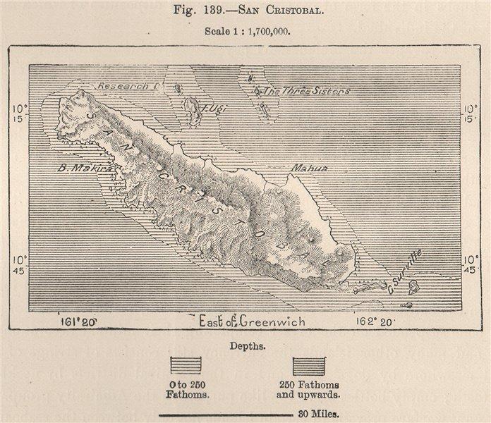 Associate Product San Cristobal (Makira) Island. Solomon Islands. Melanesia 1885 old antique map