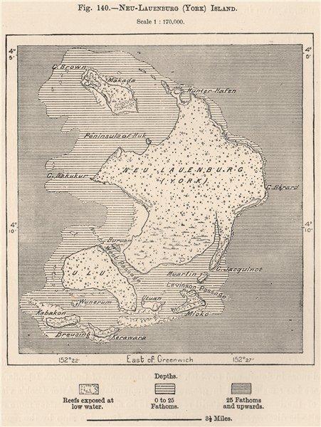 Associate Product Neu-Lauenburg (Duke Of York) Islands. Papua New Guinea. Melanesia 1885 old map