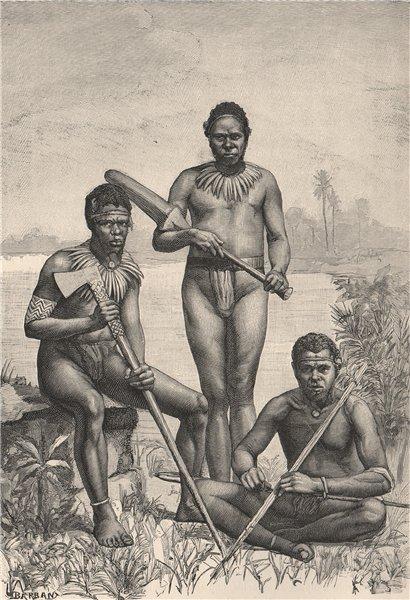 Associate Product Group of New Hebrides Natives. Vanuatu. Melanesia 1885 old antique print