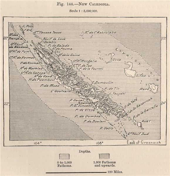 Associate Product New Caledonia. Melanesia 1885 old antique vintage map plan chart