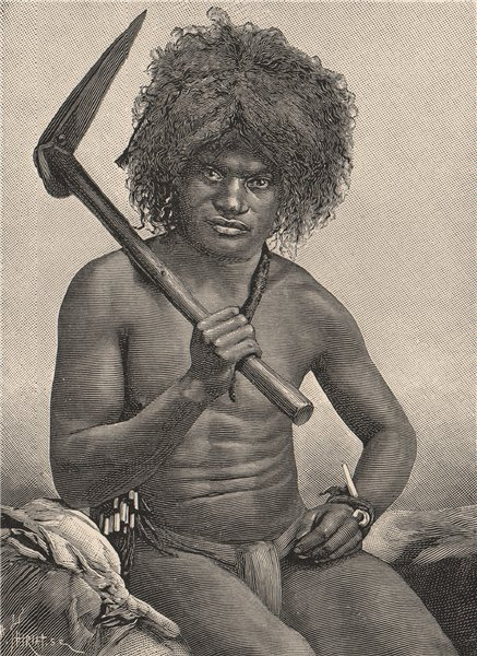 New Caledonian man. Melanesia 1885 old antique vintage print picture