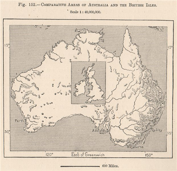 Associate Product Comparative Areas of Australia and the British Isles 1885 old antique map