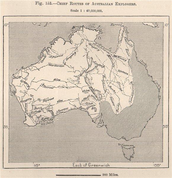 Associate Product Chief routes of Australian Explorers 1885 old antique vintage map plan chart