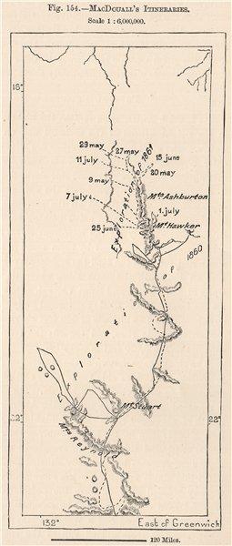 Associate Product John MacDouall Stuart's Itineraries. Australia 1885 old antique map plan chart