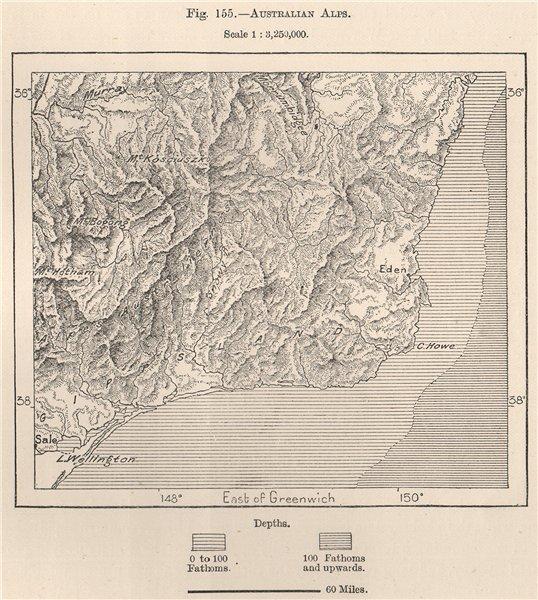 Associate Product Australian Alps 1885 old antique vintage map plan chart