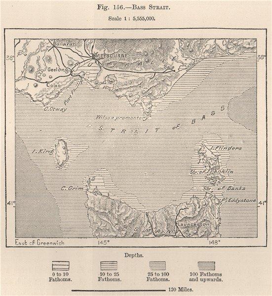 Associate Product Bass Strait. Australia 1885 old antique vintage map plan chart