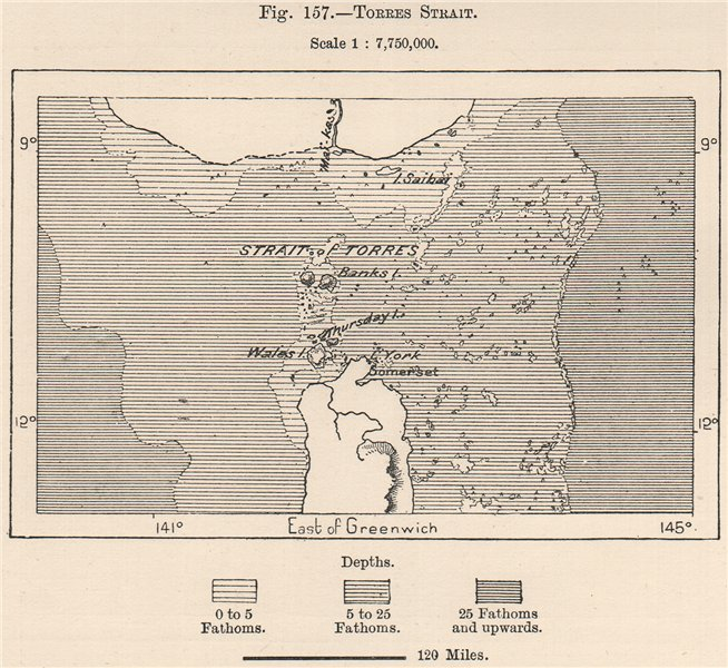 Associate Product Torres Strait. Australia 1885 old antique vintage map plan chart