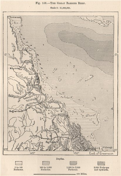 Associate Product The Great Barrier Reef. Australia 1885 old antique vintage map plan chart
