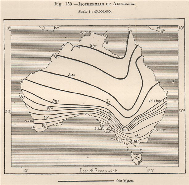 Associate Product Isothermals of Australia 1885 old antique vintage map plan chart