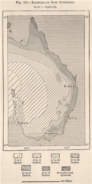 Associate Product Rainfall of East Australia 1885 old antique vintage map plan chart