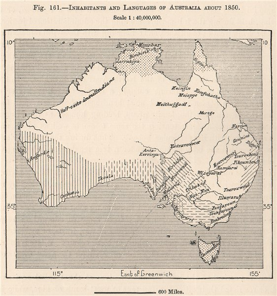 Associate Product Inhabitants and Languages of Australia about 1850 1885 old antique map chart