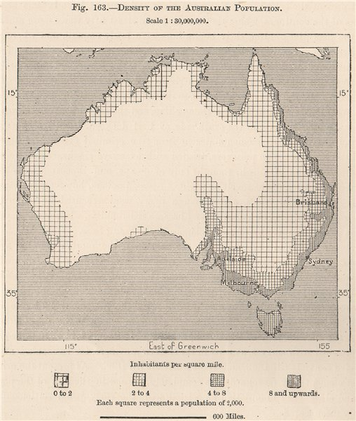 Associate Product Density of the Australian Population 1885 old antique vintage map plan chart
