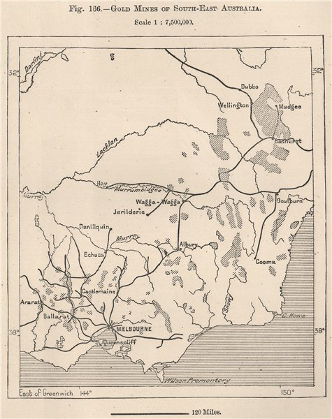 Associate Product Gold mines of South-East Australia 1885 antique vintage map plan chart
