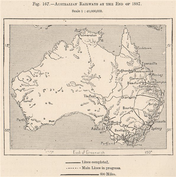 Associate Product Australian Railways at the End of 1887 1885 old antique vintage map plan chart