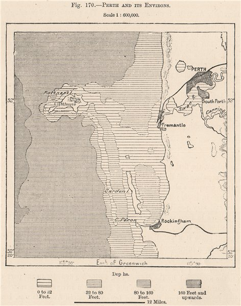 Associate Product Perth and its environs. Australia 1885 old antique vintage map plan chart