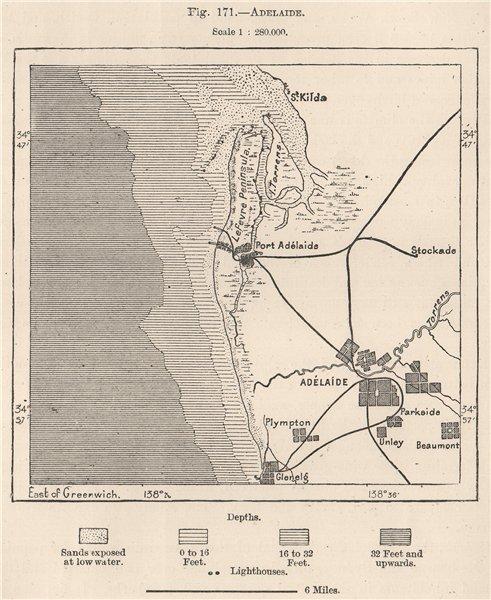 Associate Product Adelaide. Australia 1885 old antique vintage map plan chart