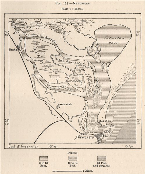 Associate Product Newcastle. Australia 1885 old antique vintage map plan chart