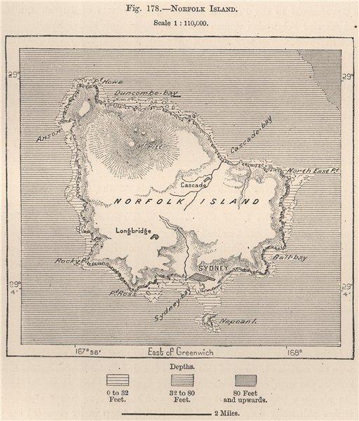 Associate Product Norfolk Island. Australia 1885 old antique vintage map plan chart