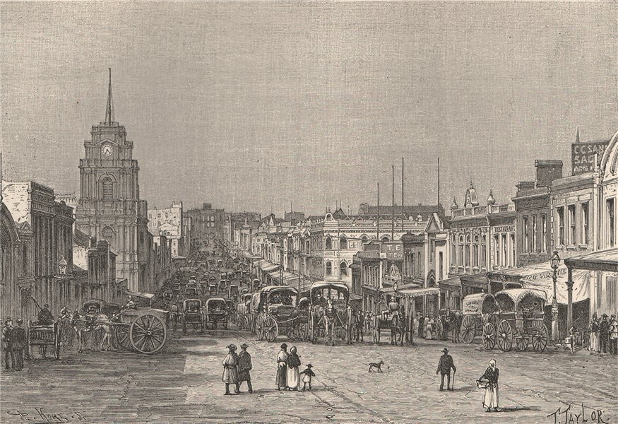 Associate Product Melbourne - View taken in Bourke St. Australia 1885 old antique print picture