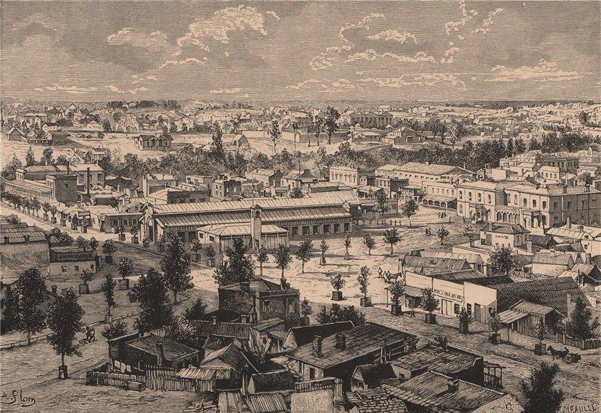 Associate Product General view of Sandhurst (Bendigo) Victoria. Australia 1885 old antique print