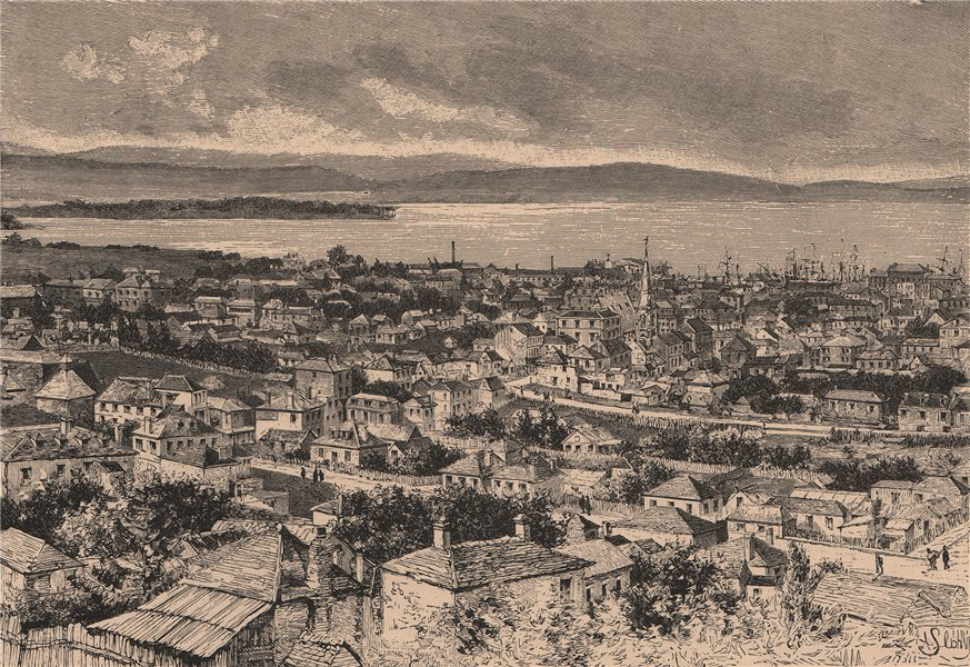 Associate Product General view of Hobart, Tasmania. Australia 1885 old antique print picture