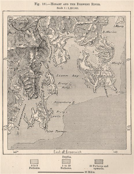 Associate Product Hobart and the Derwent river. Australia 1885 old antique map plan chart