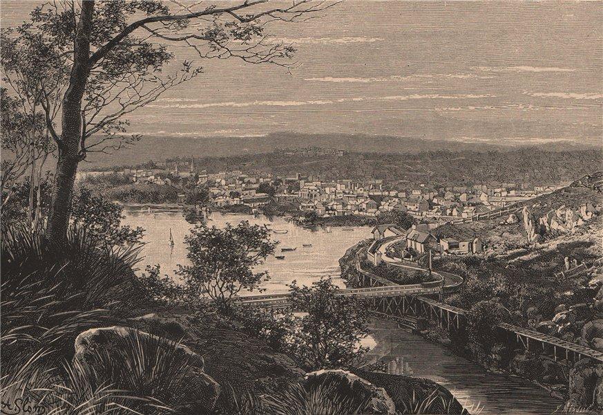Associate Product General view of Launceston, Tasmania. Australia 1885 old antique print picture